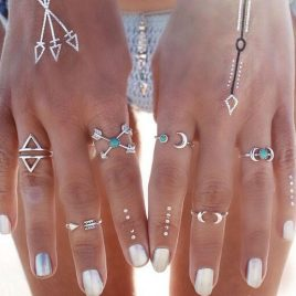 Boho-Style Six Arrows Moon Enchanted Rings