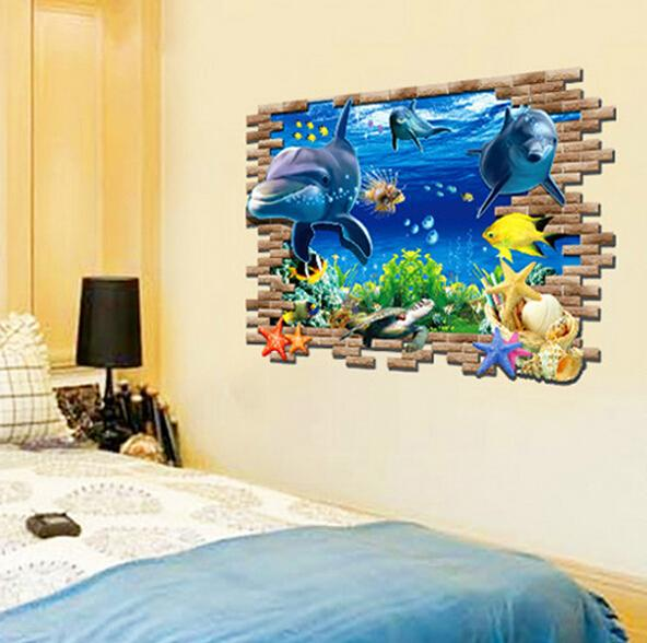 3d Removeable Undersea Dolphin Wall Decals