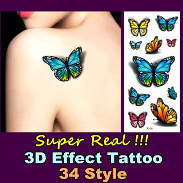 Elegant Life-Like 3D <br>Body Art Temporary <br>Waterproof Tattoos 1