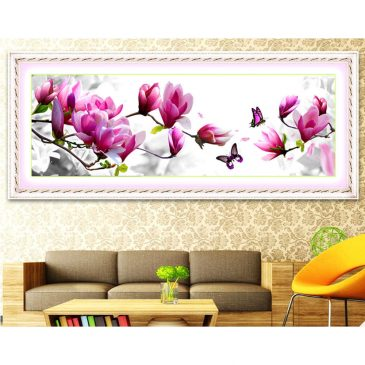 Cross Stitch Pink Magnolia Cotton Thread Embroidery Kit