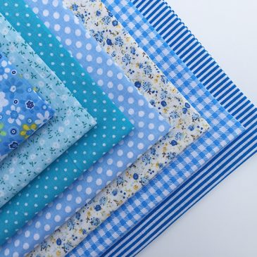 7pcs Light Blue Quilting Patchwork Coton Fabric Special Fall Promotion 50X50cm