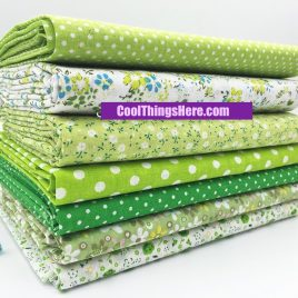 7pcs Green Series Coton Quilting Patchwork 30x30cm