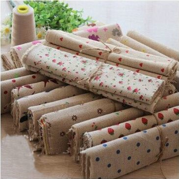 20pcs Vintage Beige Patchwork Linen Fabric  25x25cm