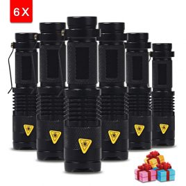 Cree 2000 Lumens Compact Aluminum Waterproof LED Flashlight 6 Pack